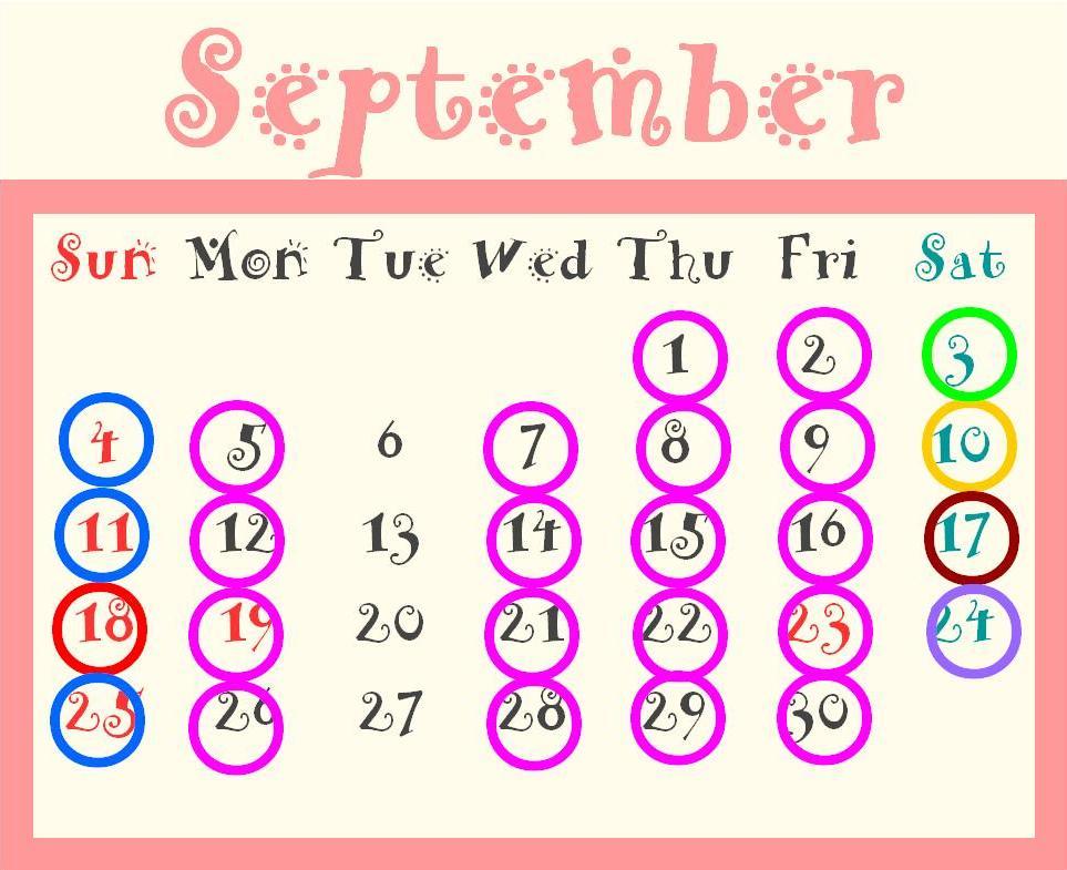 9月ブライダルカレンダー